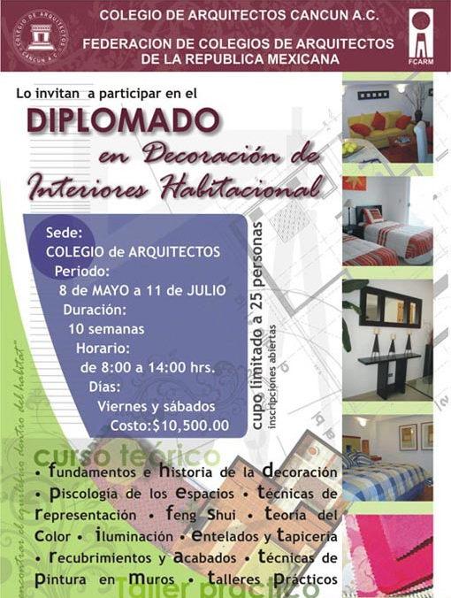 Mexico: Curso de decoracion cancun interiores arquitectos diseno