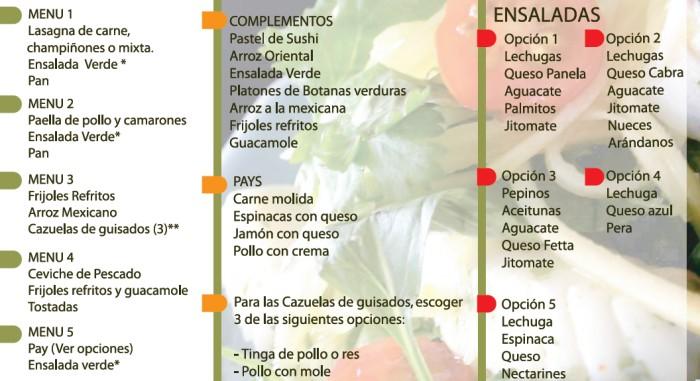 Yommi Catering menu